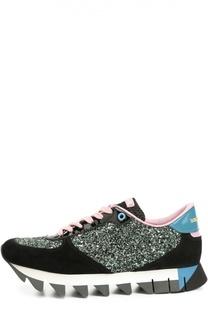 Комбинированные кроссовки Capri с глиттером Dolce & Gabbana
