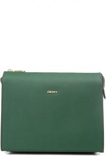Кожаная сумка на молнии с внешним карманом DKNY