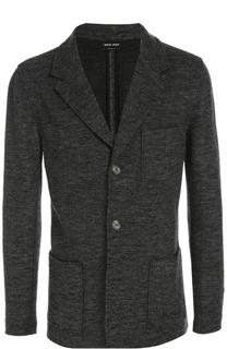 Шерстяной однобортный пиджак с накладными карманами Giorgio Armani
