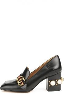 Кожаные туфли с жемчужинами Gucci