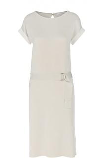 Трикотажное платье прямого кроя с поясом BOSS