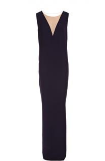 Шелковое платье макси прямого кроя Lanvin