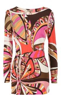 Удлиненная блуза с принтом и поясом Emilio Pucci