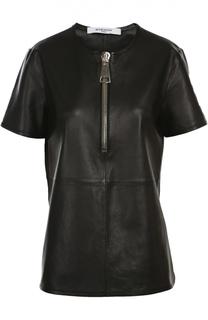 Кожаная блуза свободного кроя с молнией Givenchy
