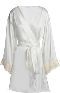 Шелковый халат с отделкой кружевом La Perla