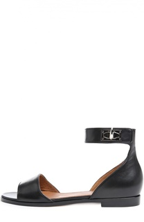 Кожаные сандалии Shark Lock с ремешком на щиколотке Givenchy