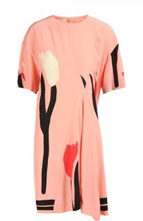 Шелковое платье асимметричного кроя с принтом Marni