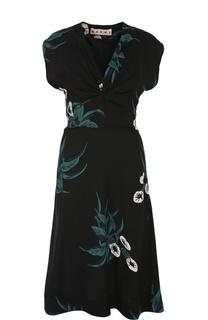 Приталенное платье из вискозы с цветочным принтом Marni