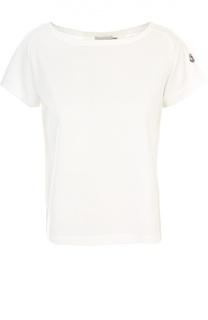 Хлопковая футболка с полупрозрачной спиной Moncler