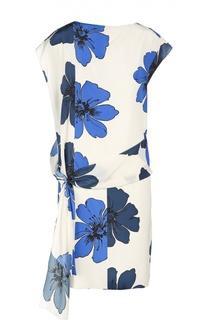 Шелковое платье с цветочным принтом и поясом Chloé