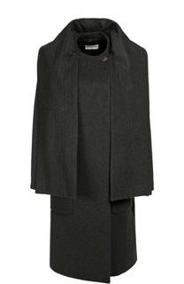 Кашемировое пальто прямого кроя с воротом-шарфом Balenciaga
