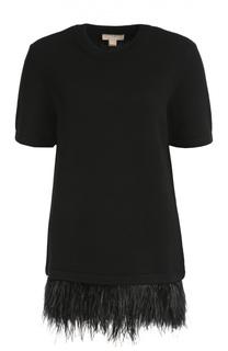 Кашемировый пуловер с оборкой Michael Kors