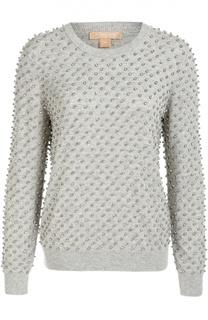 Кашемировый пуловер с отделкой стразами Michael Kors