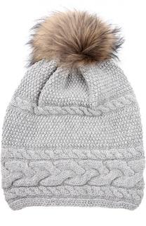 Вязаная шапка с отделкой из меха енота Inverni