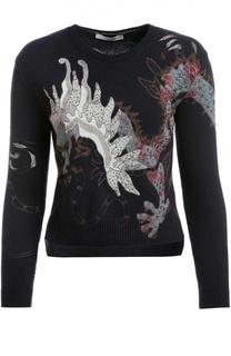 Шерстяной пуловер с круглым вырезом и объемной вышивкой Valentino