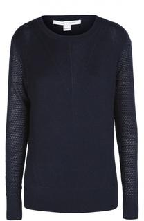 Шерстяной пуловер с круглым вырезом и перфорацией Diane Von Furstenberg