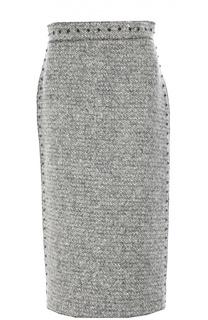 Шерстяная юбка-карандаш с заклепками Valentino