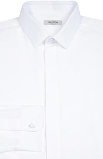 Хлопковая сорочка с воротником кент и потайными пуговицами Valentino