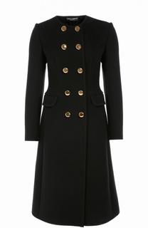 Приталенное двубортное пальто с круглым вырезом Dolce & Gabbana