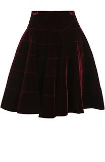 Бархатная мини-юбка А-силуэта Alaia