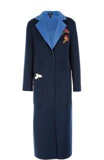 Пальто прямого кроя с контрастными нашивками Poustovit
