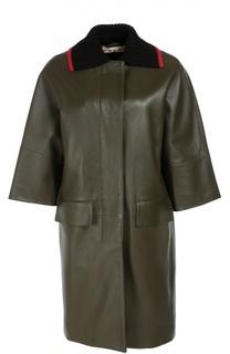 Кожаное пальто прямого кроя с укороченным рукавом Marni