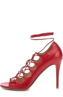 Кожаные босоножки Rockstud Gladiator на шнуровке Valentino