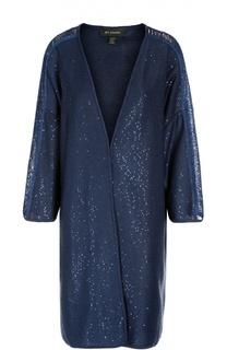 Пальто прямого кроя с укороченным рукавом и пайетками St. John