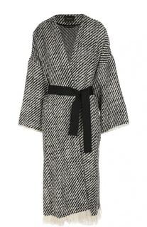 Пальто с контрастным поясом и бахромой Isabel Marant