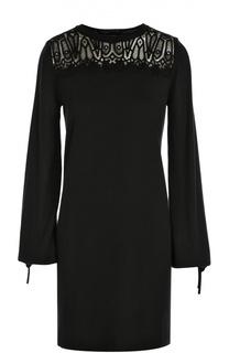 Мини-платье свободного кроя с кружевной вставкой Chloé