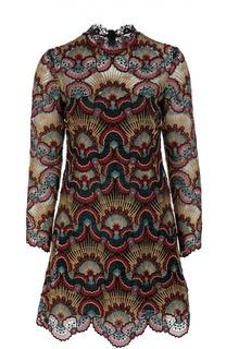 Кружевное мини-платье с ярким принтом Valentino