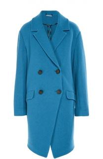 Шерстяное двубортное пальто с карманами Diane Von Furstenberg