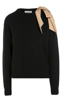 Пуловер свободного кроя с шелковым контрастным бантом Valentino
