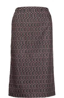 Хлопковая юбка миди с контрастным принтом Marni
