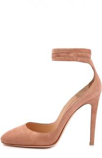 Замшевые туфли Carla на лентах Gianvito Rossi