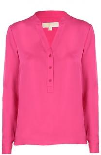 Шелковая блуза прямого кроя с V-образным вырезом Michael Michael Kors