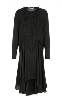 Шелковое платье-рубашка с асимметричной юбкой и оборками Givenchy