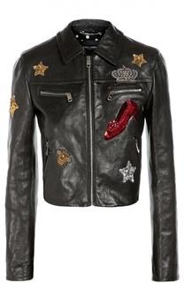 Кожаная куртка с отложным воротником и контрастной вышивкой Dolce & Gabbana