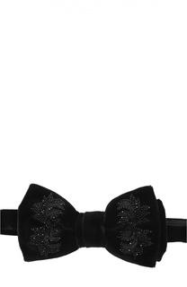 Бархатный галстук-бабочка с вышивкой Alexander McQueen