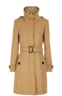 Пальто прямого кроя с поясом и высоким воротником Burberry Brit
