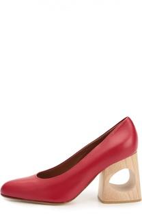 Кожаные туфли на фигурном каблуке Marni