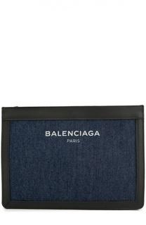 Клатч из денима с кожаной отделкой Balenciaga