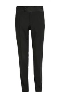 Шерстяные брюки с шелковым поясом и лампасами Dolce & Gabbana