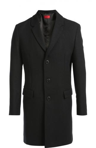 Однобортное пальто с добавлением шерсти HUGO