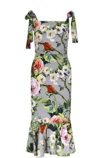 Шелковое платье-футляр с цветочным принтом и юбкой годе Dolce & Gabbana
