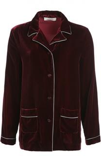 Бархатная блуза в пижамном стиле с контрастной отделкой Valentino
