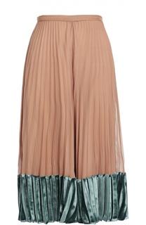 Шелковая плиссированная юбка с бархатной отделкой Valentino