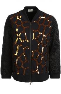 Стеганая куртка с укороченным рукавом и пайетками Dries Van Noten