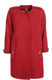 Пальто свободного кроя с круглым вырезом и погонами Burberry Brit