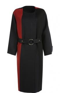 Пальто прямого кроя с круглым вырезом и контрастными вставками Marni
